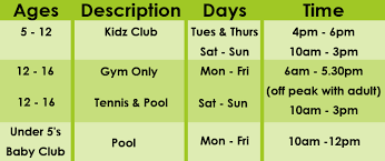 opening times at stock brook country club health and fitnes