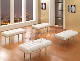 White Leather Benches Modern Line Furniture Commercial Furniture Custom Made