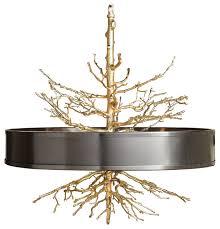 bijou tree branch hollywood regency brass bronze ceiling pendant