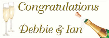 wedding congratulations banner congratulations banner with chagne bottle and glasses