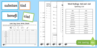 words ending in u0027cial u0027 and u0027tial u0027 spelling list and activity