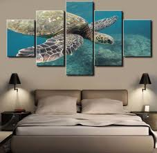 Home Wall Decor 5 Panel Tortoise Modern Home Wall Decoration Painting Canvas Wall Pict
