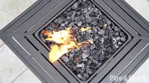 Propane Fire Pit Glass Slatted Propane Fire Pit With Black Fireglass Sku 14057 Plow