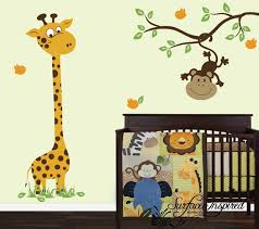 Monkey Nursery Wall Decals Wall Decal Nursery Giraffe And Monkey On A By Surfaceinspired