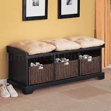 Storage Bench With Baskets Black Storage Bench W Baskets And Cusions