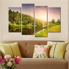 popular wall art panels buy cheap wall art panels lots from china 4 panels sunset mountain landscape modern wall art canvas painting modular painting wall pictures for living