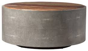 Gray Wood Coffee Table Dieter Faux Shagreen And Wood Round Coffee Table Gray Rustic