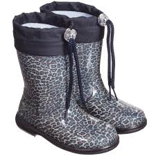Blue Leopard Print by Armani Baby Girls Navy Blue Leopard Print Rain Boots Childrensalon