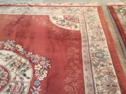 Extra Large Red Rug Vintage Hand Knotted Chinese Rug French Aubusson Style 9x12