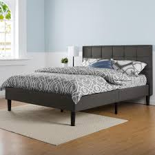 zinus dark grey full upholstered bed hd fspb f the home depot