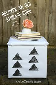 Diy Storage Ottoman Cube Diy Painted Canvas Pouf Storage Cube Footstool