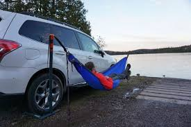 eno roadie hammock stand lets you sway wherever you park your car