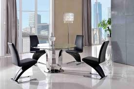 naples dining set with 4 black chairs modern furniture direct