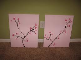 easy diy cherry blossom paintings for nursery craft ideas