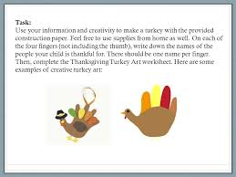 working with families project thanksgiving turkey