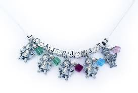children s birthstone necklace initial necklaces for 5 kids 5 childrens pintails on a sterling