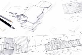 Home Drawings Architectural Sketch Drawings For New Home Renovation Stock Photo