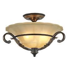 Vintage Ceiling Lights Antique Iron Glass Shade Vintage Semi Flush Ceiling Lights