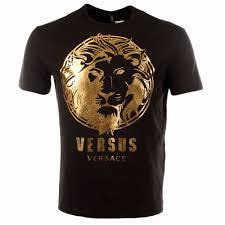versus versace versus versace black metallic gold lion print crew
