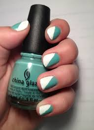 cute summer nail design mint green and white use regular tape to