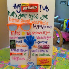 feel better care package ideas my husbands get well card after eye surgery from my and i