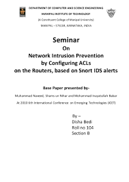 seminar report network intrusion prevention by configuring acls on u2026