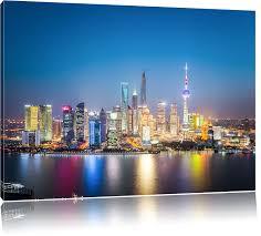 bilder xxl amazon de shanghai skyline bild auf leinwand xxl riesige bilder