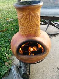 Chiminea Fire Pit Exterior Design Cute Yellow Clay Chiminea Outdoor Fireplace With