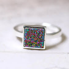 Geode Engagement Ring Box Druzy Ring Peacock Ring Geode Ring Square Ring Stone Ring Crystal