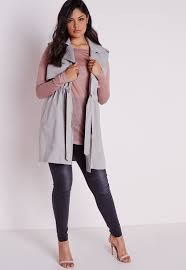 missguided plus size sleeveless jacket light grey in gray lyst