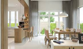 appliances cozy open dining space with wooden dining table and
