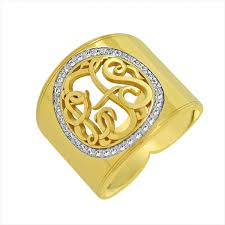 gold monogram ring 14k gold cigar band diamond monogram ring be monogrammed