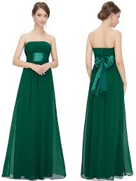 emerald green bridesmaid dress strapless chiffon floor length emerald bridesmaid dress with sash