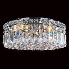 Chandeliers Overstock Giselle Chrome Finish 2 Tier Crystals Square Flush Mount