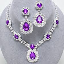purple stone necklace set images 58 purple earrings and necklace set purple rhinestone jewelry for jpg