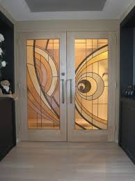 Stained Glass Door Panels by Hand Crafted Custom Made Hard Maple Doors With Contemporary