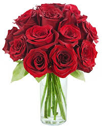 Flowers With Vases Amazon Com Kabloom Romantic Red Rose Bouquet 12 Fresh Cut Red