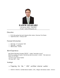 Internal Auditor Resume Sample by Bader Sharairi Senior Internal Auditor Resume