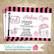paris poodle birthday party invitations printable digital or prints