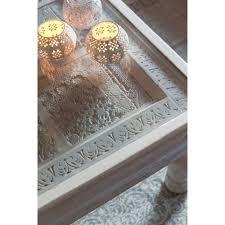 Indian Table L Table Basse Indienne En Manguier Massif Blanche L 100 Cm