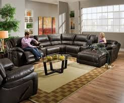 Simmons Sectional Sofas Simmons 50660 Blackjack Brown Leather Sectional Sofa Recliner