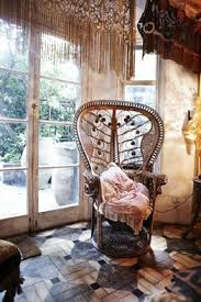 peacock wicker chair macrame lace curtains mod eclectic boho