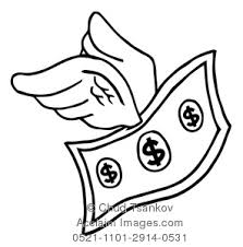a coloring page of a dollar bill with wings clipart illustration