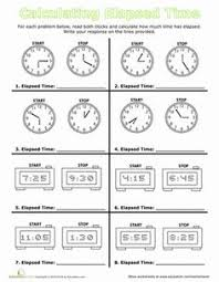 calculate elapsed time worksheets math and group
