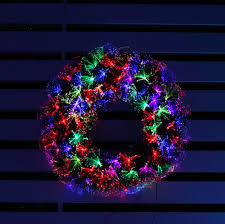 the multicolour indoor and outdoor use halo fibre optic wreath