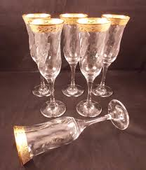 vintage champagne glasses vintage champagne flutes decorative gold band italian crystal