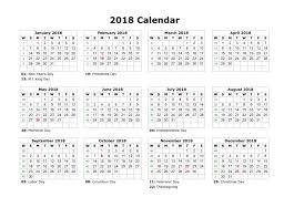 printable calendar 2018 with holidays calendar 2018