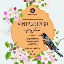 Flower And Bird - vintage flower and bird card vector graphics 01 vector card
