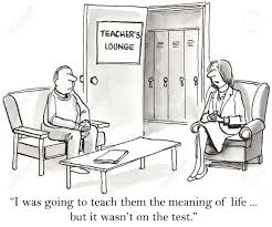 cartoon of teachers talking about teaching students the meaning