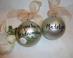 will you be my bridesmaid ornaments bridal